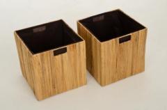 Úložné boxy TAO, dřevo/vodní hyacint, 32 cm, natur, 2 ks