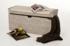 Sedací lavice s úložným prostorem COMBO, ratan, šířka 105 cm, odstín White Wash