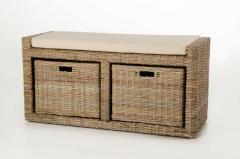 Sedací lavice s úložným prostorem LORANTE, ratan, šířka 105 cm, odstín Koobo gre