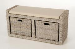 Sedací lavice s úložným prostorem LORANTE, ratan, šířka 105 cm, odstín White Was