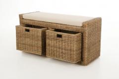 Sedací lavice s úložným prostorem LORANTE, ratan, šířka 105 cm, světle šedá