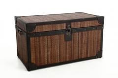 Vintage truhla z ratanu s kůží BALI, šířka 80 cm, hnědá