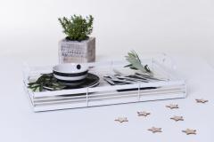 Servírovací ozdobný tác SERVIRE, kov/dřevo, šířka 50 cm, bílá shabby chic
