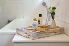 Dřevřný tác TABLO, šířka 45 cm, bílá shabby chic