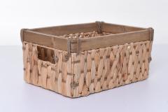 Úložné krabice YELLA, vodní hyacint/dřevo, šířka 39 cm, natur, 2 ks