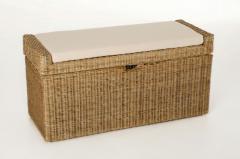 Sedací lavice s úložným prostorem COMBO, ratan, šířka 105 cm, světle šedá