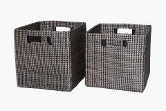 Úložné boxy LINE, mořská tráva, šířka 32 cm, natur/černá, 2 ks