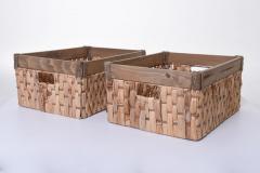 Úložné krabice YELLA, vodní hyacint/dřevo, šířka 45 cm, natur, 2 ks